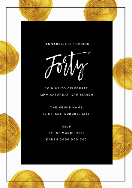 40th Birthday Party Invitation With Painted Gold Circle Graphic Elements