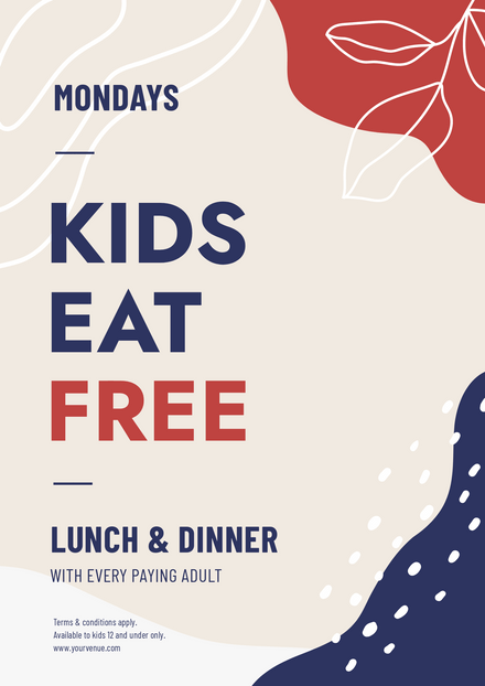 Kids Eat Free Offer with graphic elements