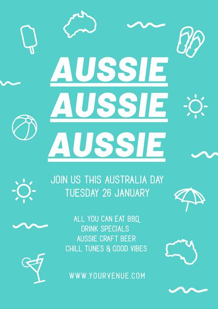 Aussie Aussie Aussie Teal Background Template