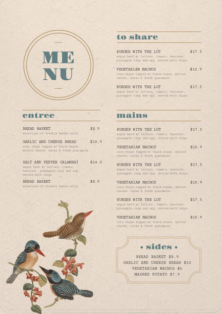 Vintage style Menu Template with Illustrated Birds