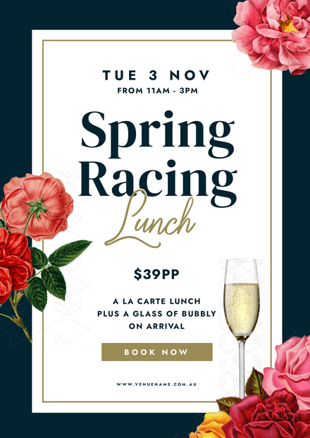 Floral Theme Spring Racing Lunch Template