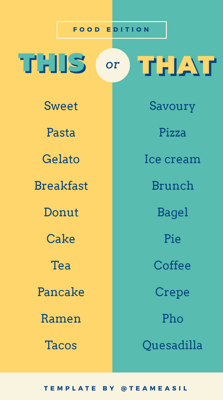 This or That Template - Food Edition with split colors