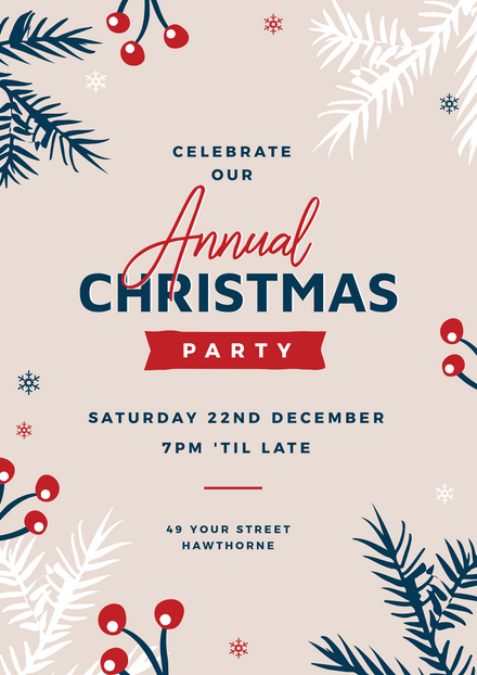 Annual Christmas Party Template with border of festive elements