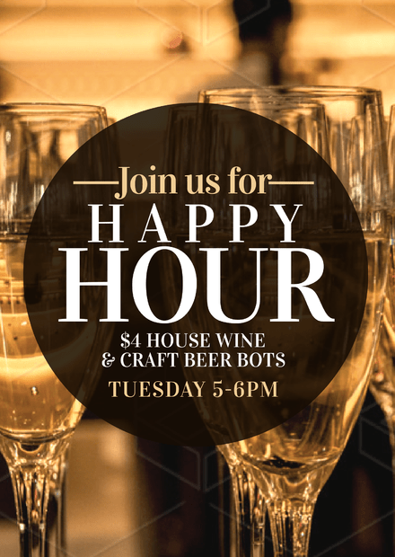 Join us for Happy Hour template with wine glasses image