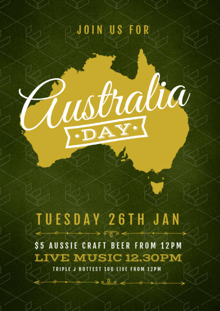 Australia Day Template with Gold Aussie map on green background