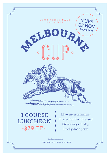 Light Blue Melbourne Cup Promotion Template with Vintage Illustration