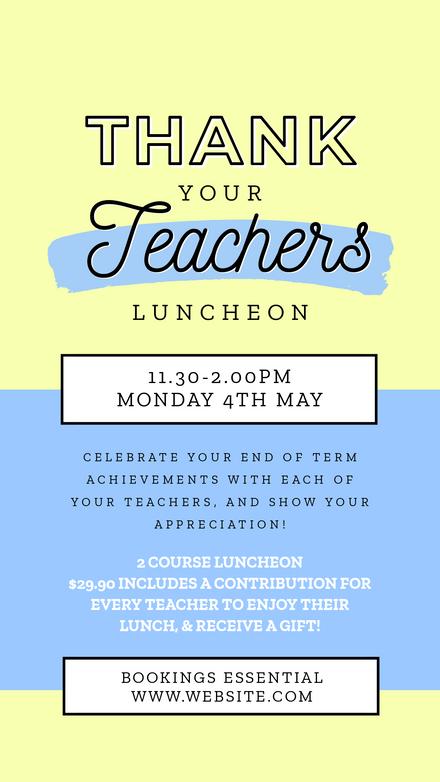 Thank your Teachers Luncheon Template