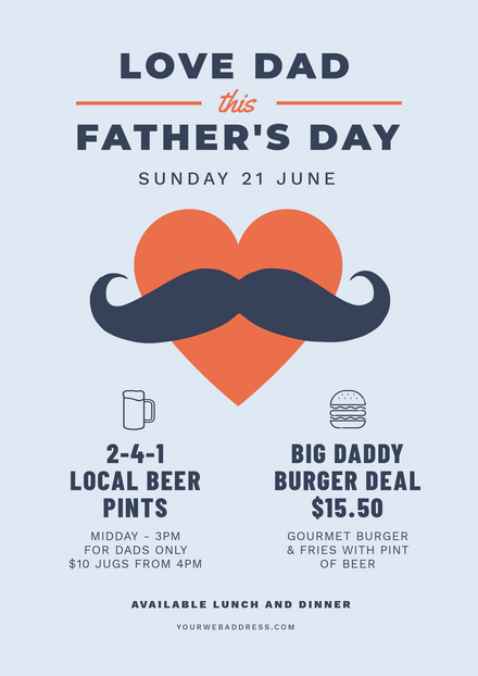 Father's Day Love Dad Template - Heart & Moustache