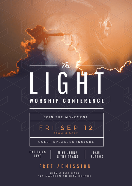 the light worship conference church flyer template easil
