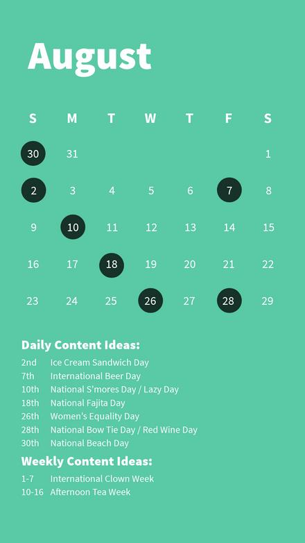 Content Calendar - August 2020
