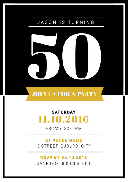 Black White And Gold 50th Birthday Party Invitation