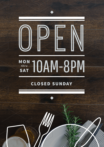 Business Hours Sign Template | Opening Hours Sign Template With Outline Graphic Elements Easil
