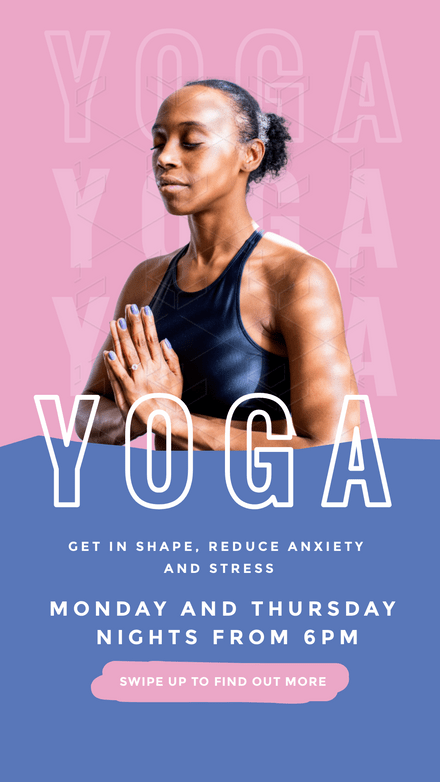 Yoga Classes - Pink & Blue Graphic Template