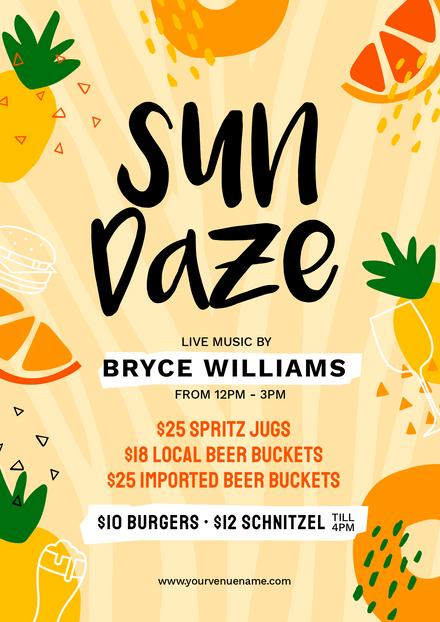 Sun Daze Fruit Themed Graphic Template