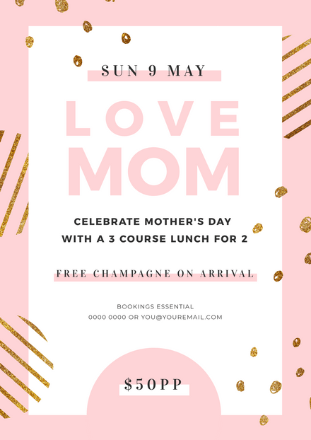 Pastel Pink and Glittery Gold Mother's Day Poster