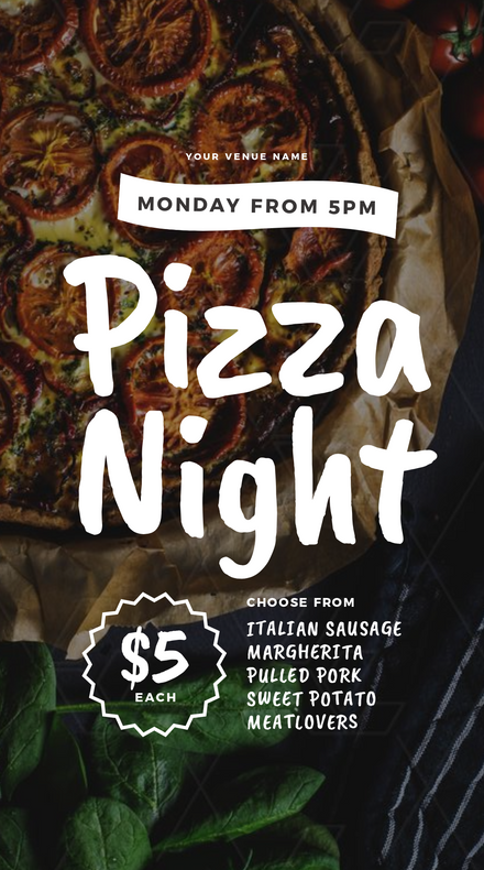 Pizza Night Promtoion template with large handwritten Font