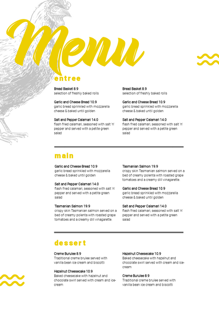 Yellow Menu