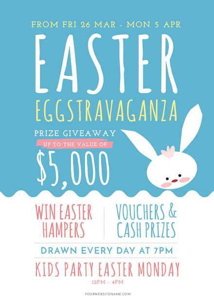 Easter Eggstravaganza with white Easter Bunny Illustration