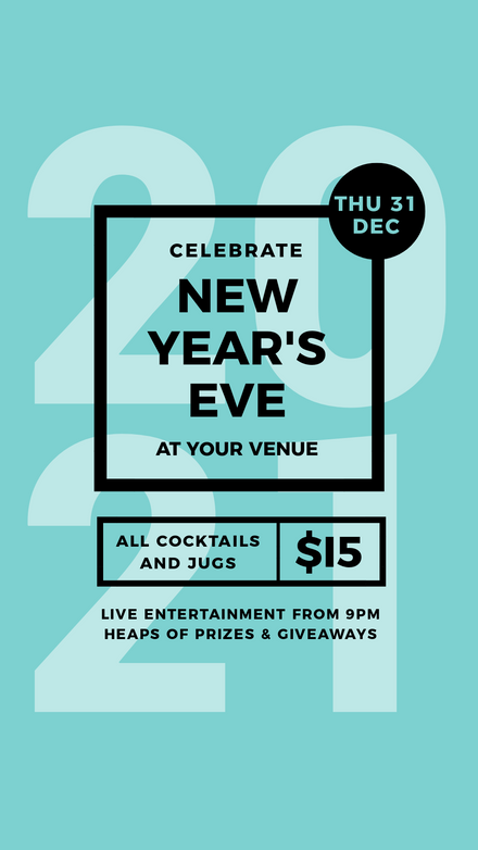 New Years Eve Event Template with light teal background