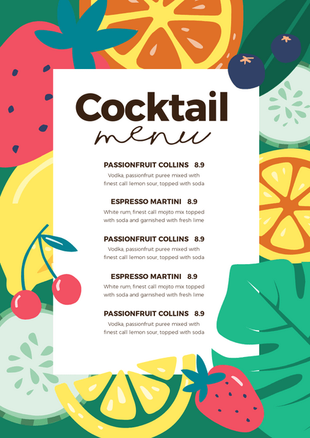 Cocktail Menu with Hand Drawn Fruit Elements