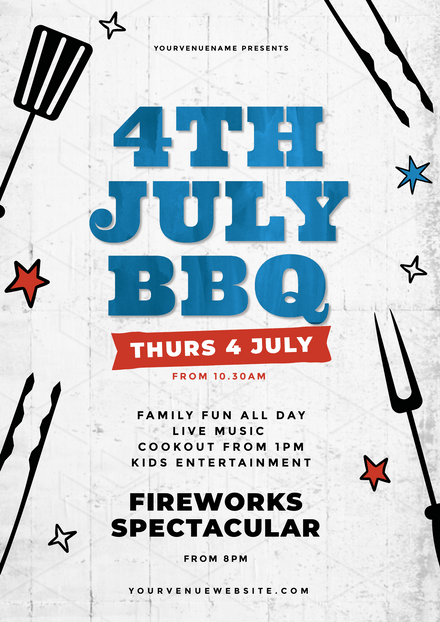 4th of July BBQ with rough texture Background