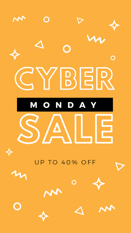 Cyber Monday Sale - Orange & White Shapes Graphic Template