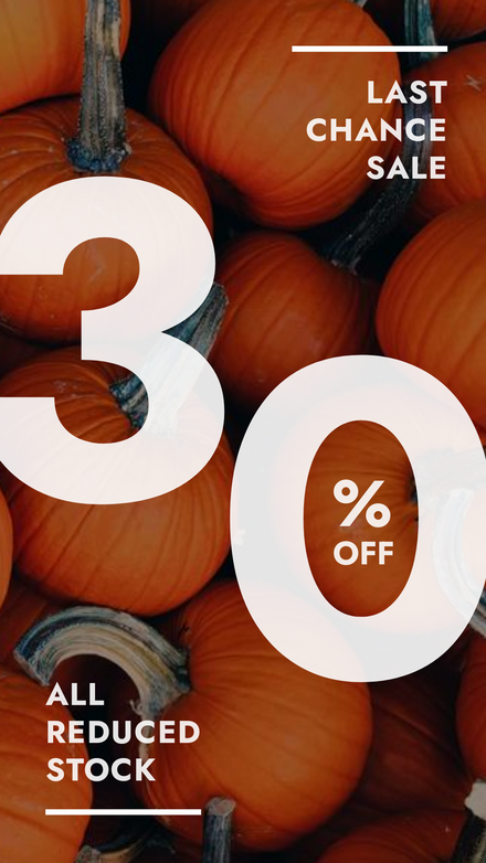 Fall Sale Graphic Template with Pumpkin Background