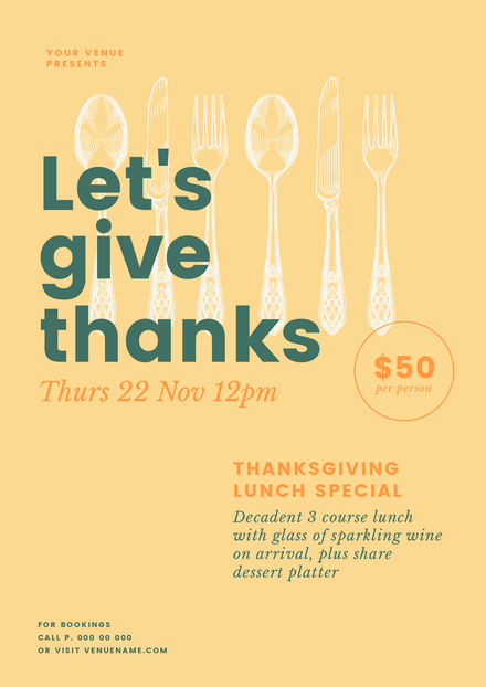 Let\'s Give Thanks - Thanksgiving template with cutlery graphics