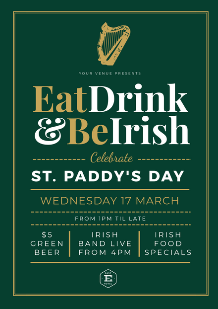 Eat, Drink & Be Irish Green St Patricks Day Template