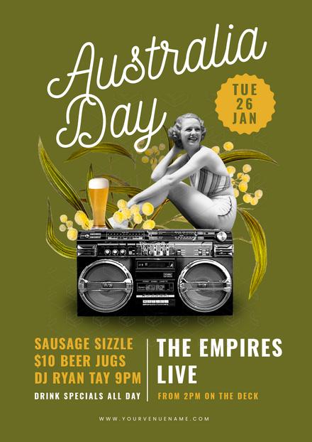 Australia Day Vintage Style Template