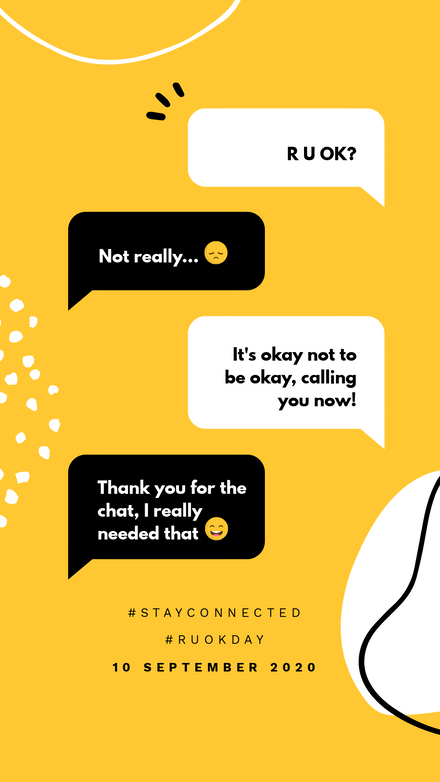 R U OK Day: Yellow Black White Speech Bubbles