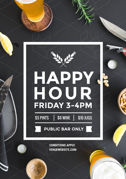 Happy Hour Design with Beer & Bar Snacks background