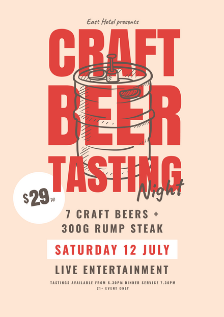 Craft Beer Tasting Template with Illustrated Keg