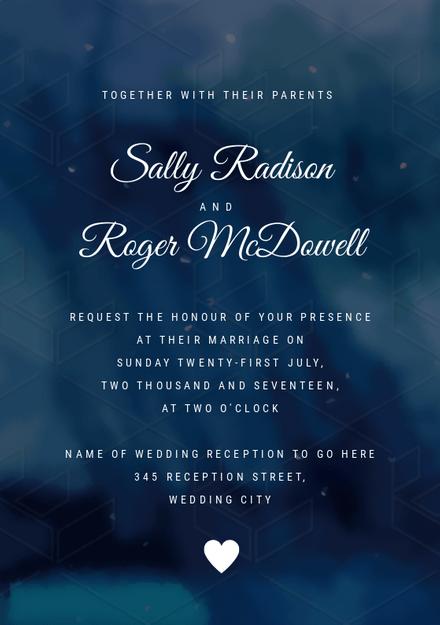Blue Watercolor Background  Script Wedding invitation