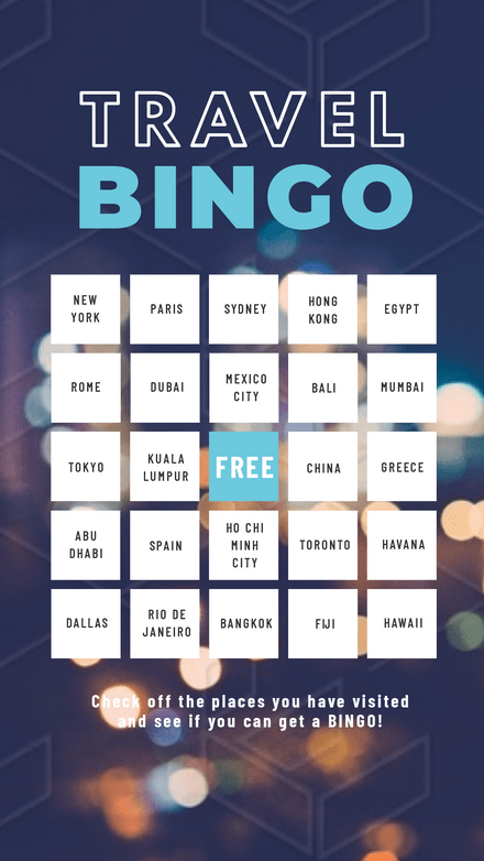 Travel Bingo Instagram Challenge Template