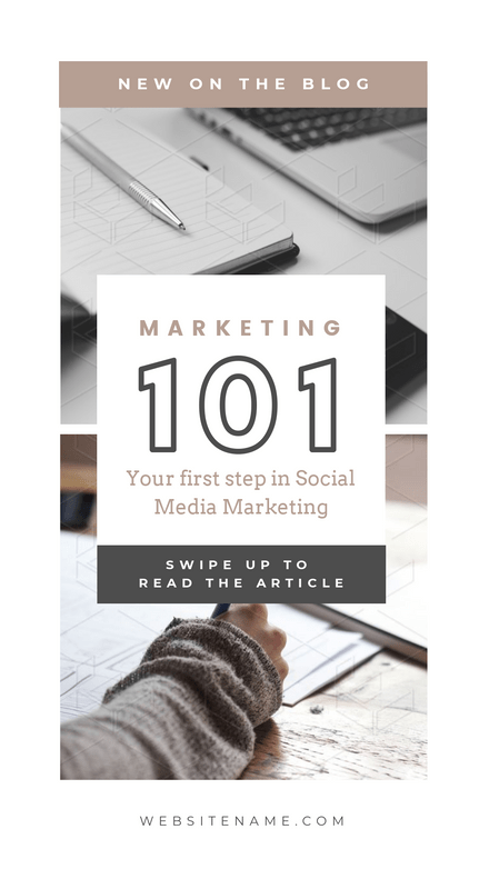 Marketing 101 Blog Promotion Template with muted colors