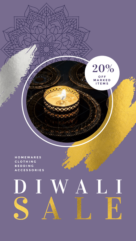 Diwali Homewares Sale - Purple & Gold Template