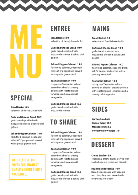 Black & Yellow Menu