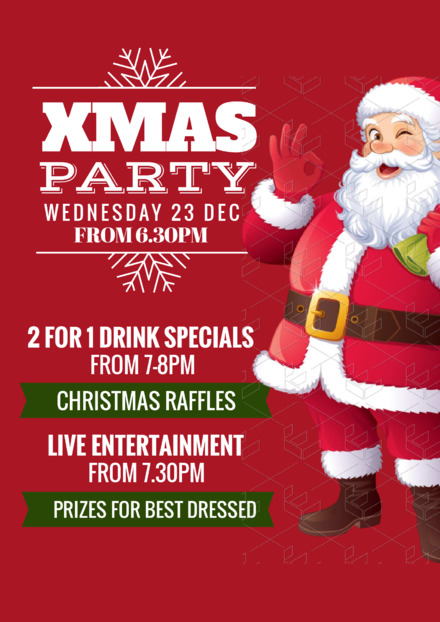 Christmas Party Poster Template with Santa Claus Illustration