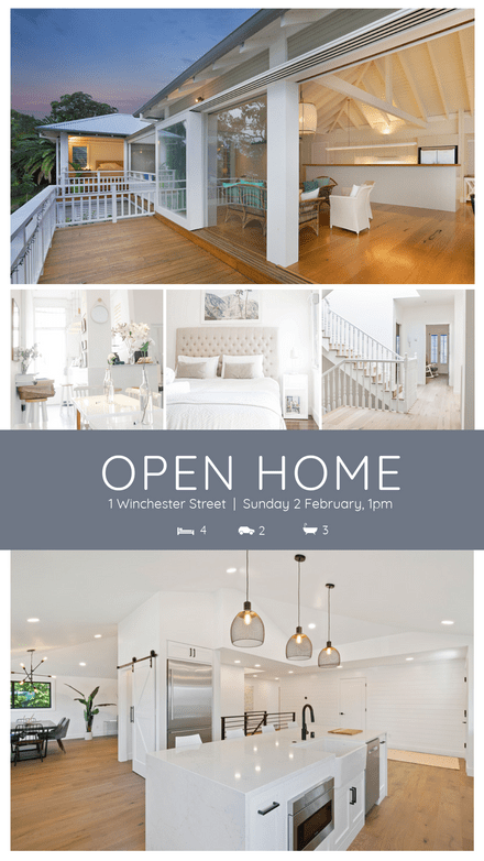 Realtor Open Home Showcase Graphic with 5 Property Images