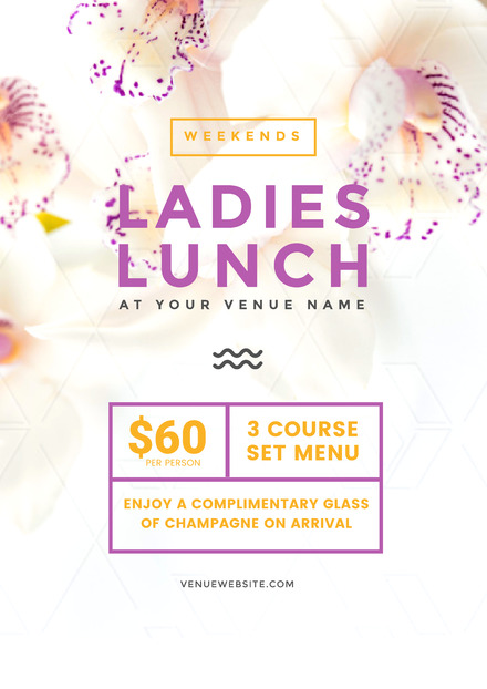 Ladies Lunch poster with pretty, light floral background