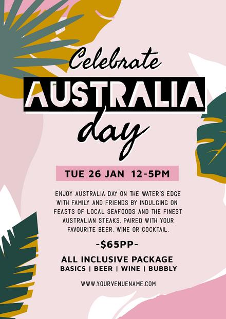 Celebrate Australia Day Colourful Leaves Design