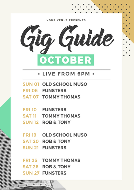 Gig Guide with geometric shape background feature
