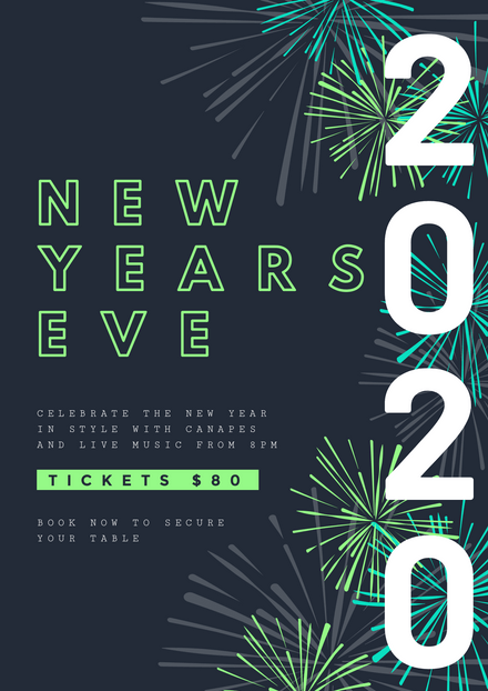 New Years Eve Template with Vibrant Firework Graphics