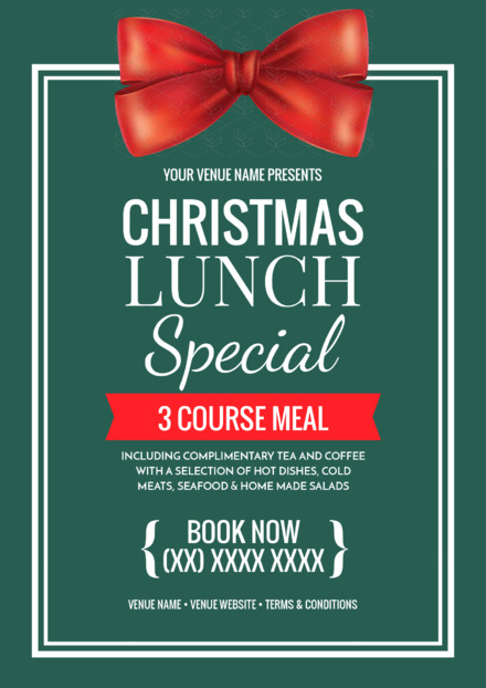 Christmas Day Lunch template with red festive bow