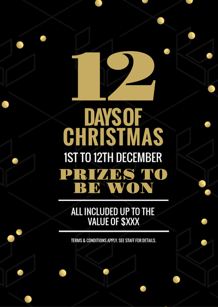 12 Days of Christmas Black, gold and White template