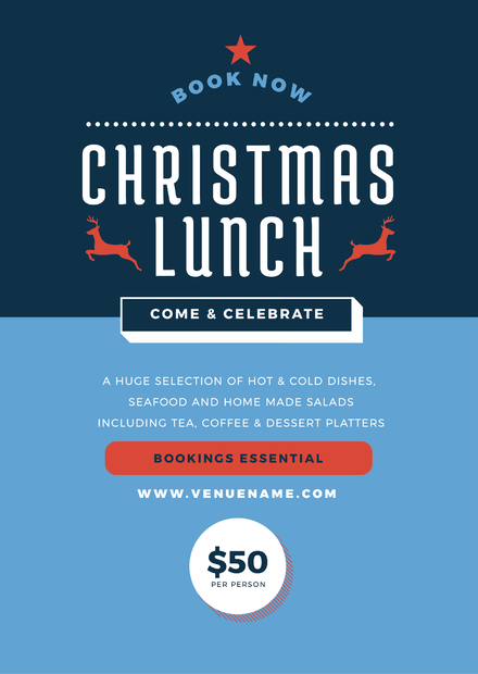 Christmas Lunch Template with split block colors