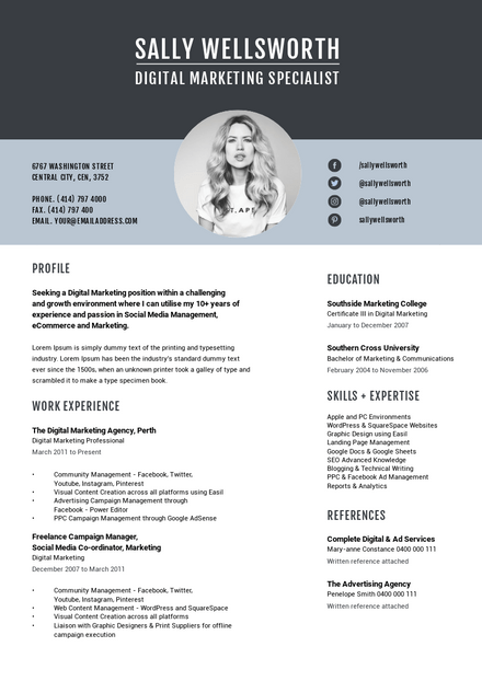 Shades of Blue Resume Template with Circle Photo Zone