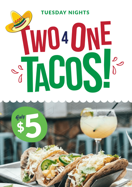 Two 4 One Tacos Graphic Template