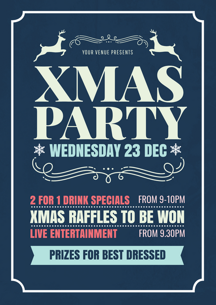 Blue Christmas Party Graphic template with reindeer graphics